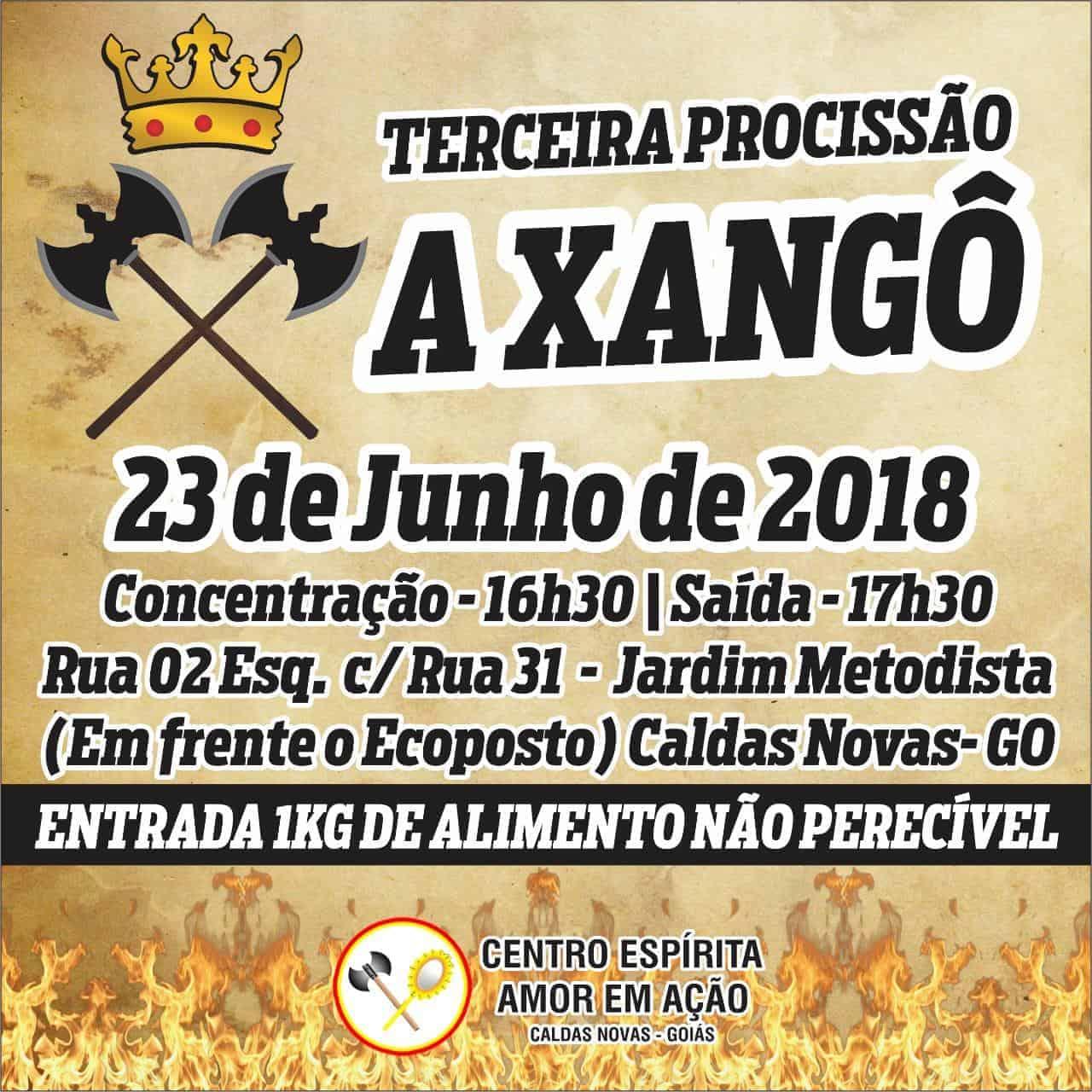 Procissão de Xangô em Caldas Novas (GO) será em junho 2
